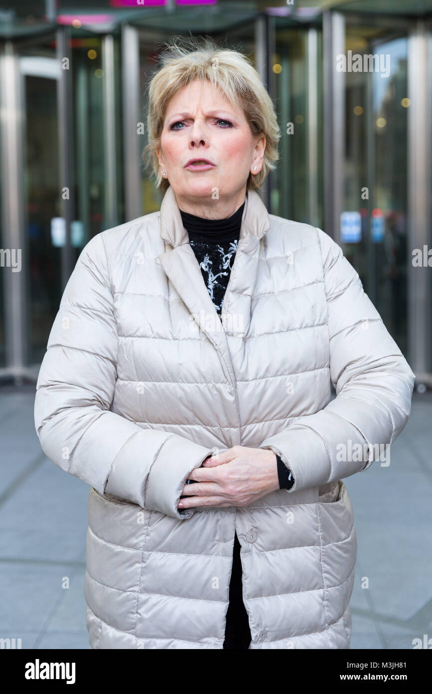 London, UK. 11th February 2018. Anna Soubry MP outside BBC Broadcasting House after appearing on the Andrew Marr - Stock Image