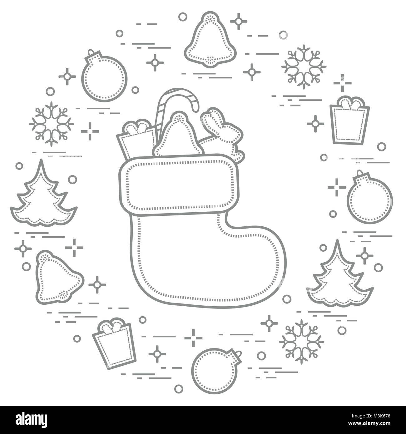 Christmas sock with gift. New Year and Christmas symbols. Winter holidays greeting card. Design for banner, poster Stock Vector