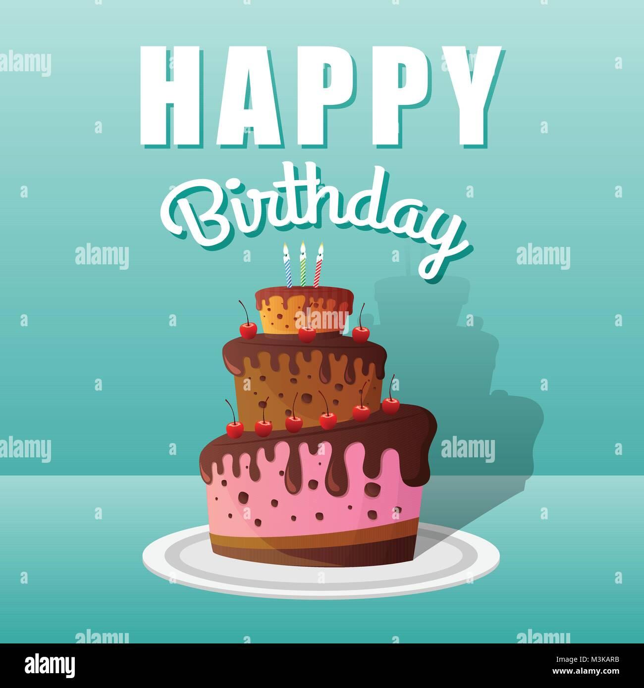 Happy birthday greeting cards design with chocolate cakes and stock happy birthday greeting cards design with chocolate cakes and candles vector illustration m4hsunfo