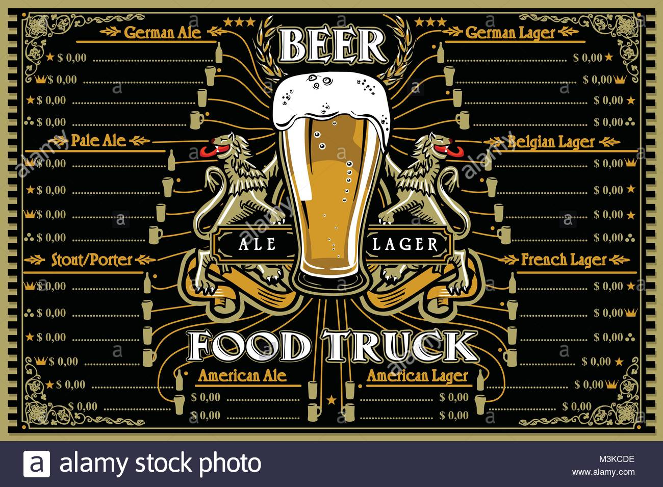Beer Food Truck Menu With Logo Hipster Advertise Layout With German