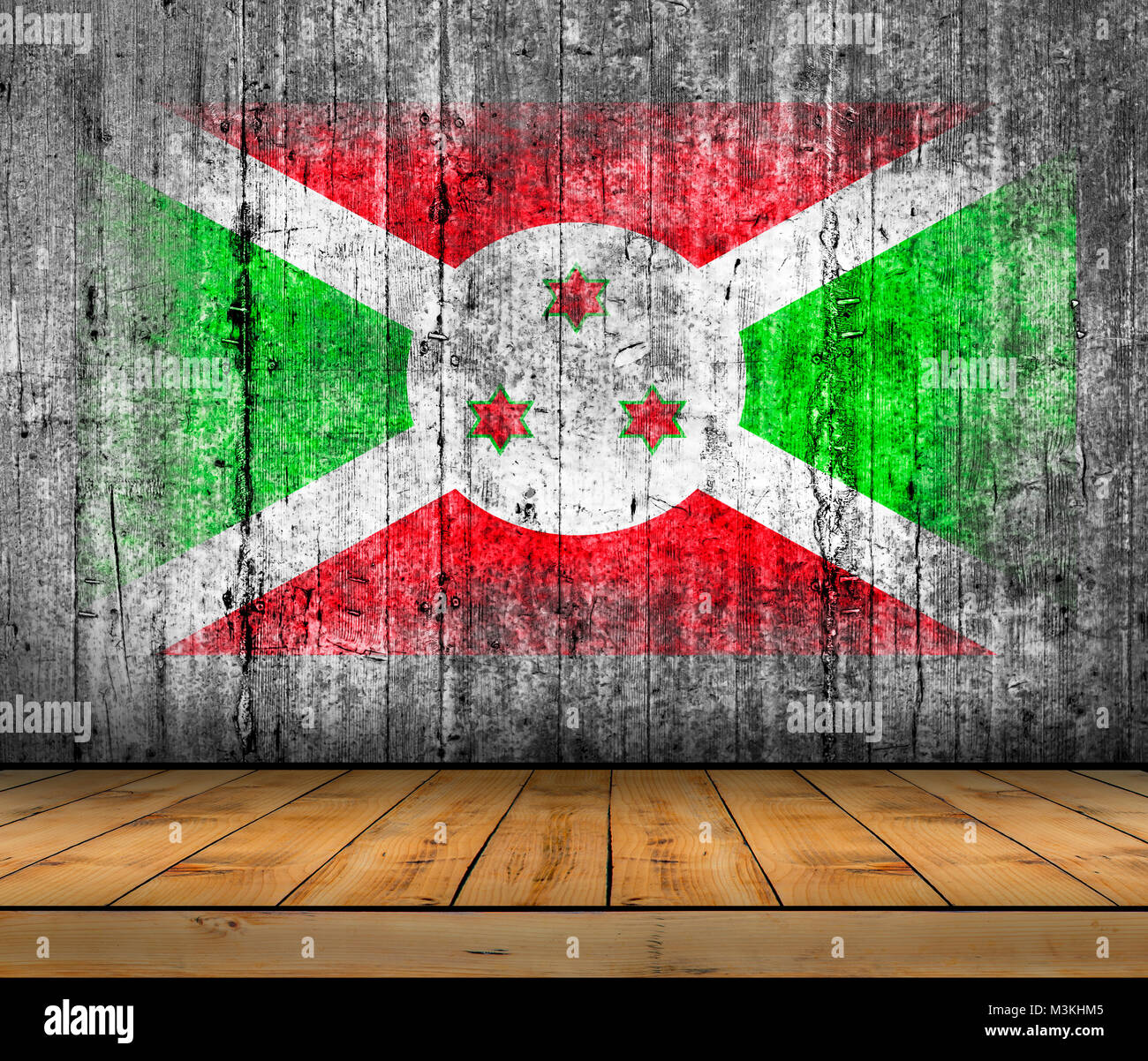 Burundi flag painted on background texture gray concrete with wooden floor - Stock Image