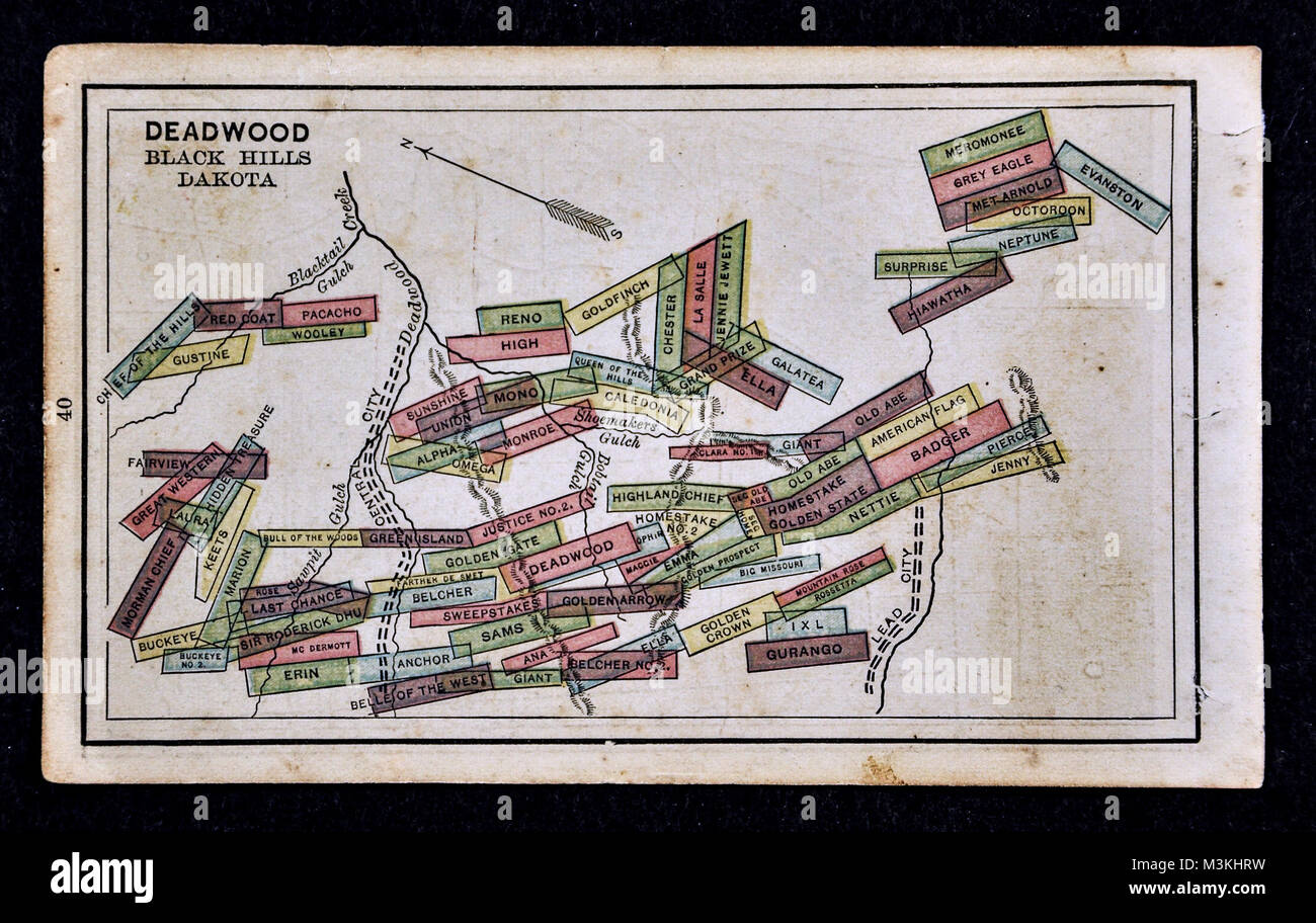 1882 dstreet Atlas Map - Gold Mine Map - Deadwood, Black Hills ... on