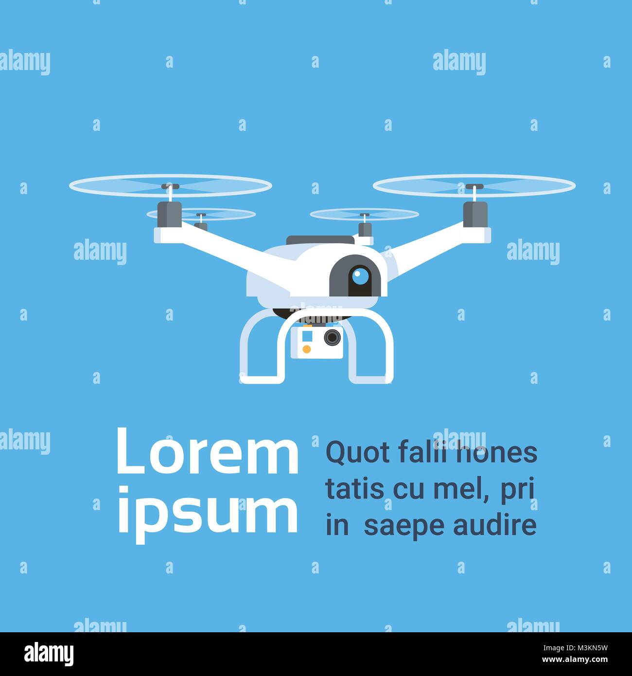 Remote Aerial Drone With Camera Taking Photography Or Video Recording Over Background With Copy Space - Stock Vector