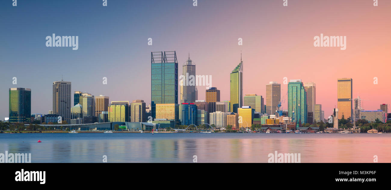 Perth. Panoramic cityscape image of Perth skyline, Australia during sunset. - Stock Image