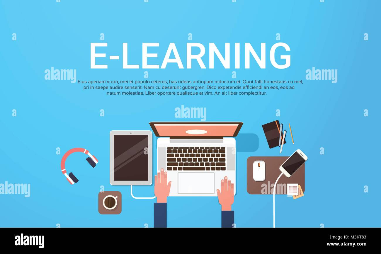 E Learning Education Online Banner With Student Laptop Computer Stock Vector Image Art Alamy