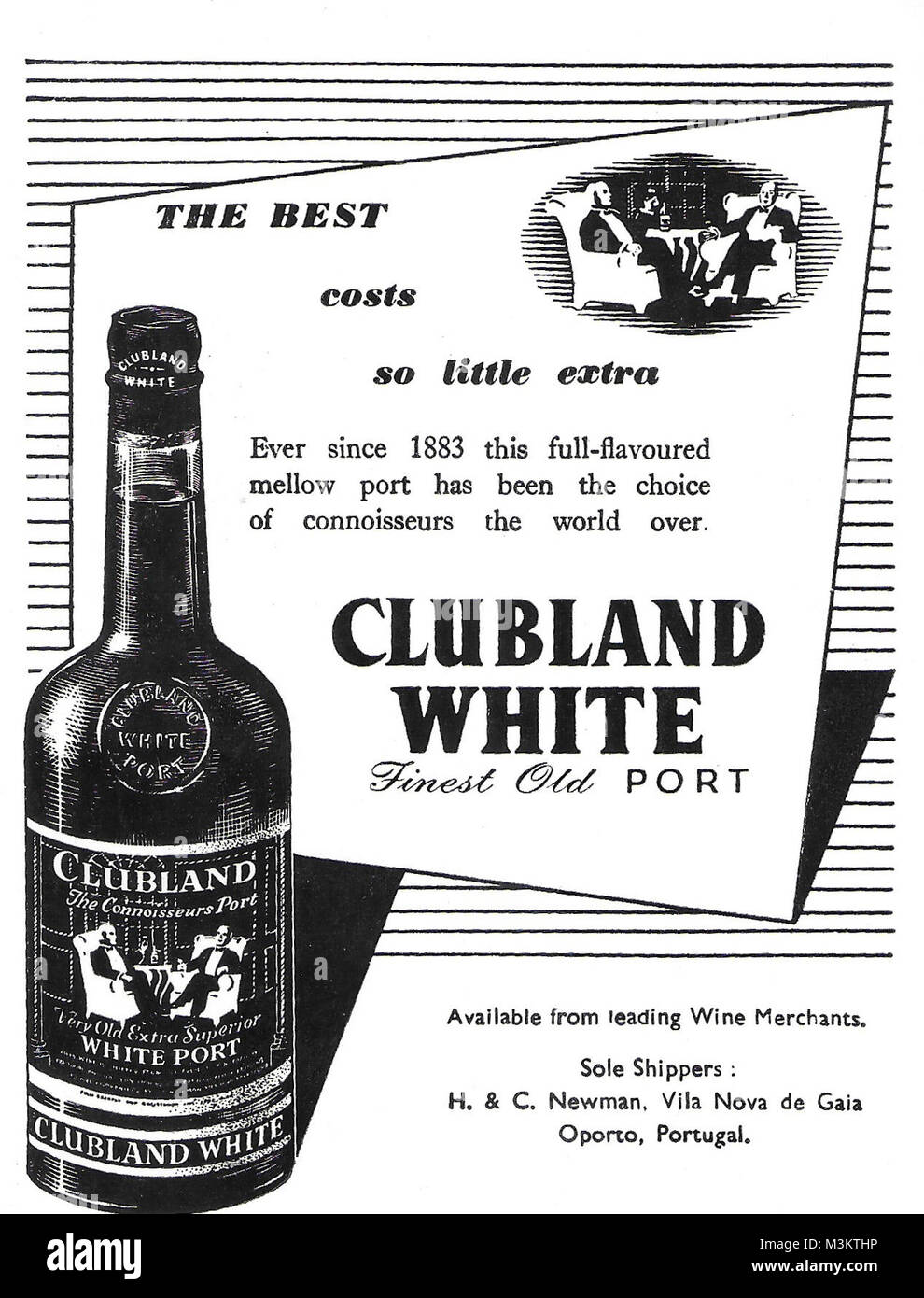 Clubland White finest old port advert, advertising in Country Life magazine UK 1951 - Stock Image