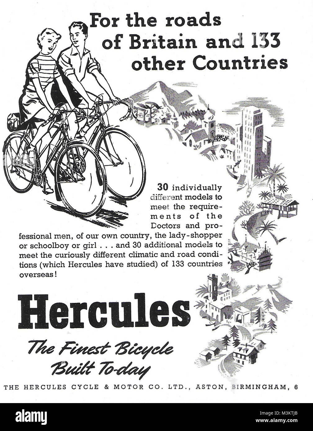 Hercules bicycles advert, advertising in Country Life magazine UK 1951 - Stock Image