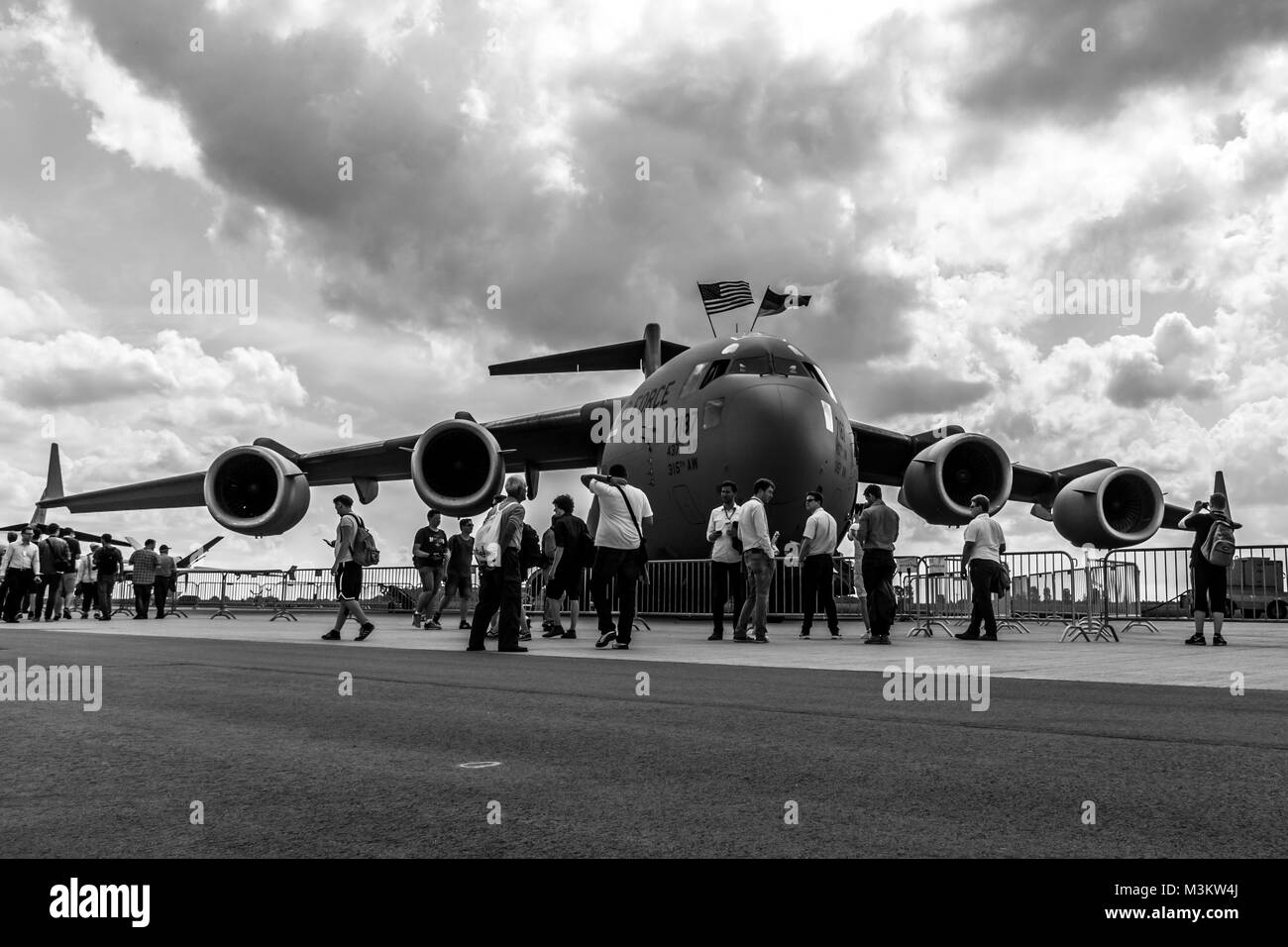 BERLIN, GERMANY - JUNE 01, 2016: A strategic and tactical airlifter Boeing C-17 Globemaster III. US Air Force. Black - Stock Image