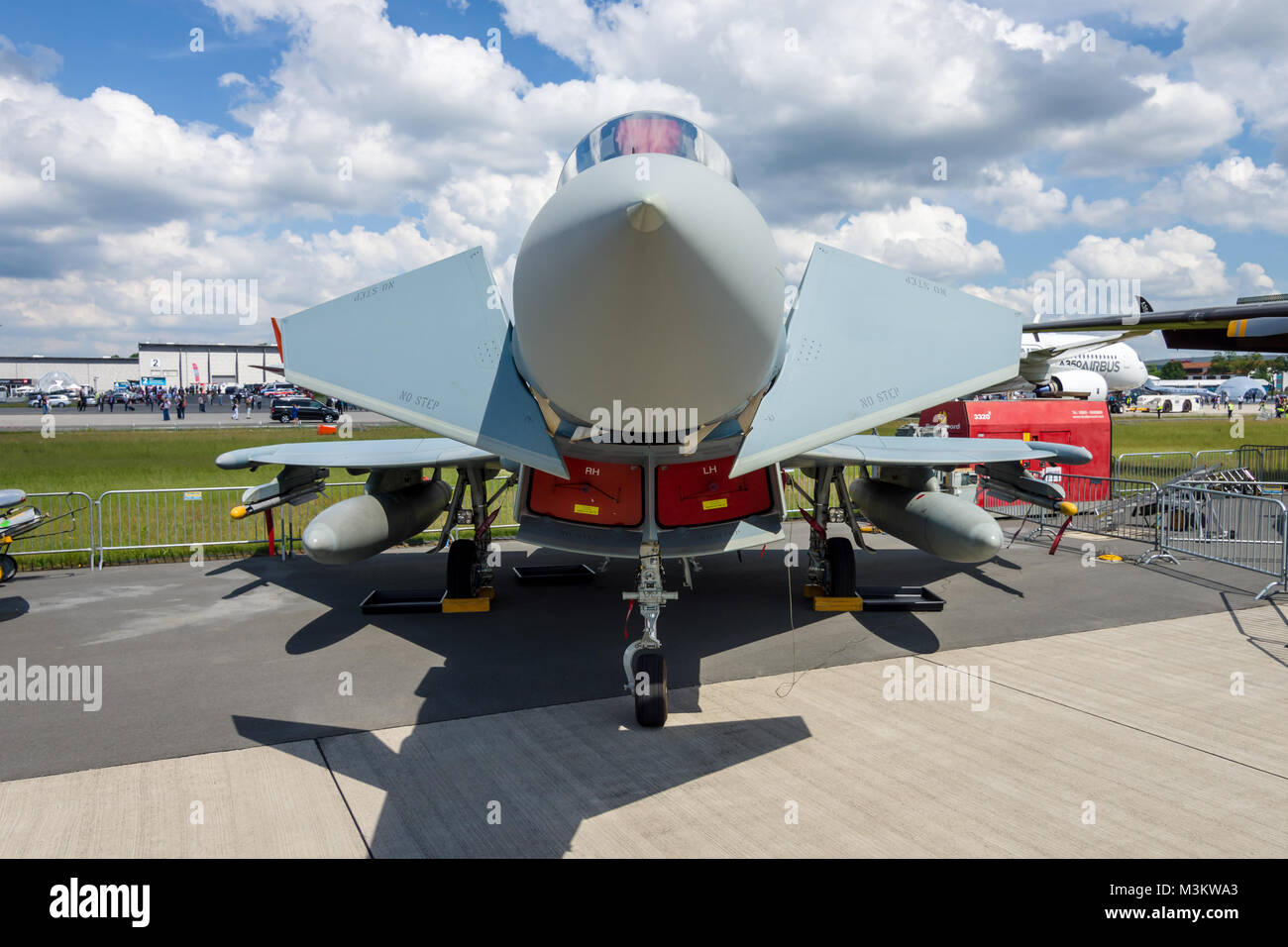 BERLIN, GERMANY - JUNE 02, 2016: Multirole fighter Eurofighter Typhoon. German Air Force (Luftwaffe). Exhibition Stock Photo