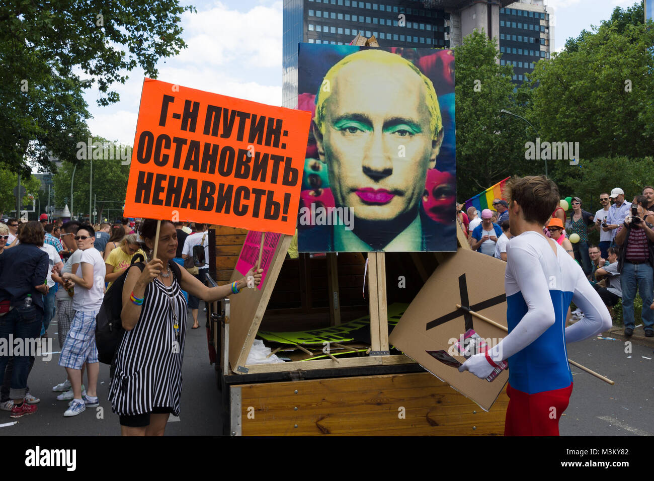 BERLIN, GERMANY - JUNE 22, 2013: Christopher Street Day. Demonstration of support for gays and lesbians of Russia - Stock Image