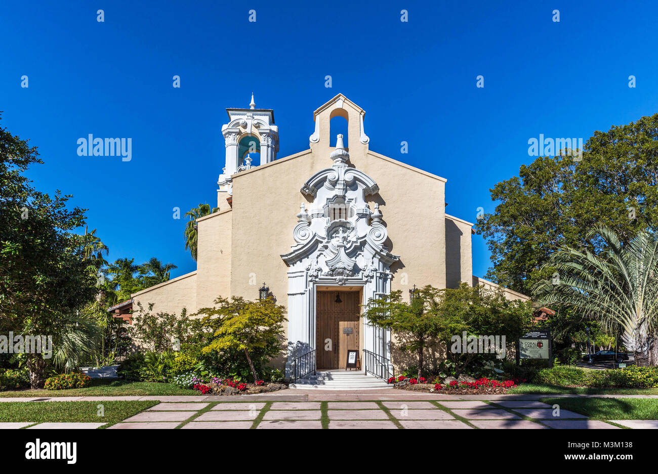 Coral Gables Congregational Church, Miami-Dade County, Florida, USA. Stock Photo