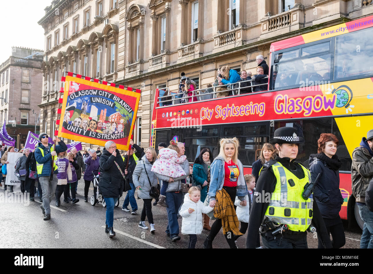 Equal Pay demonstration and march in Glasgow, Scotland 10 February 2018 - Stock Image