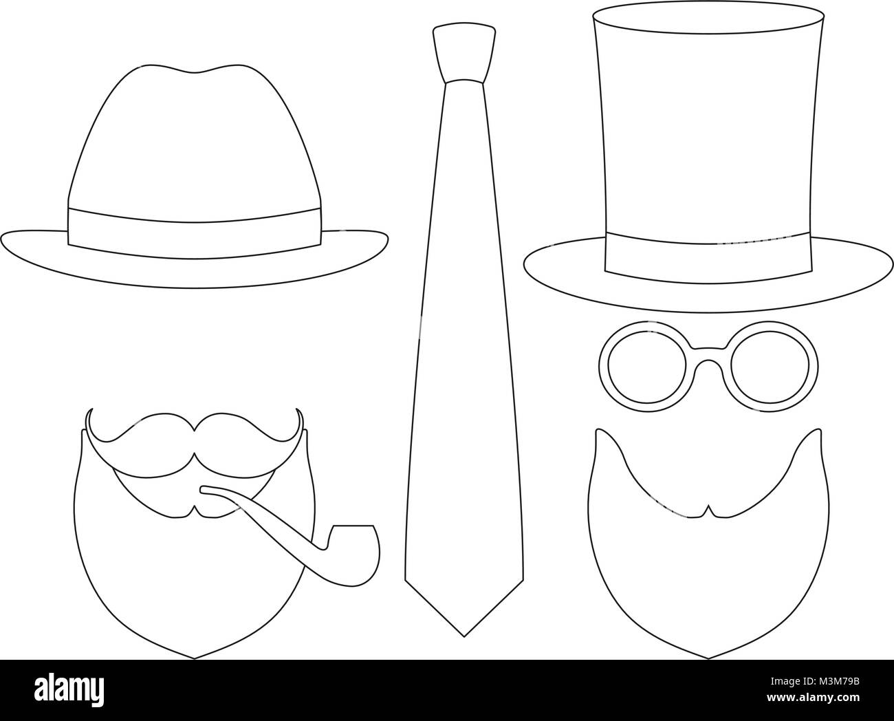 50659390 Icon line art poster man father dad day avatar elements set tall hat  glasess mustache smoking