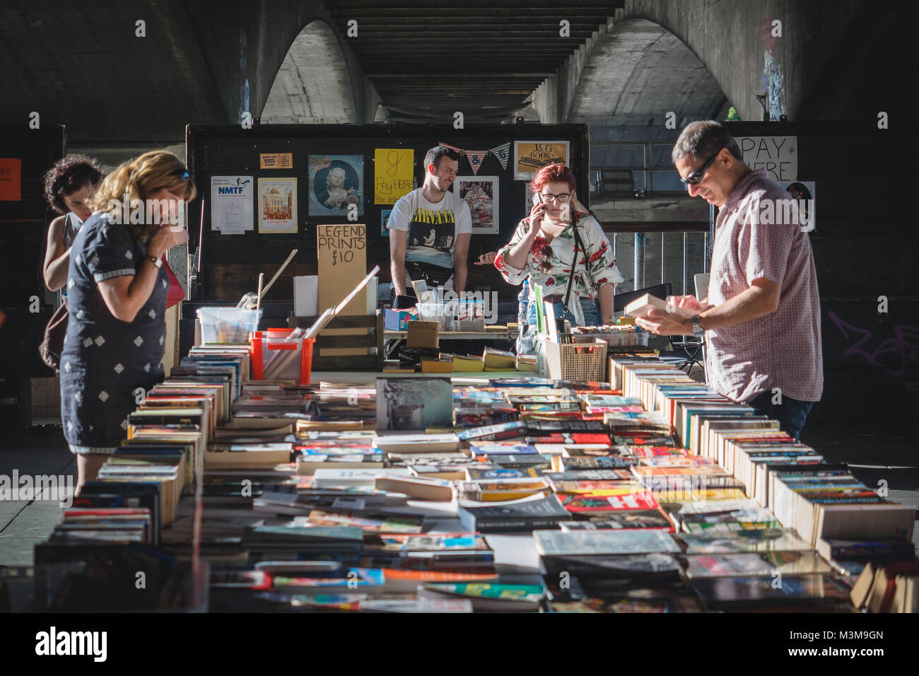 London (UK) - August 2017. Second hand books on sale in a stall on the South Bank. Landscape format. - Stock Image