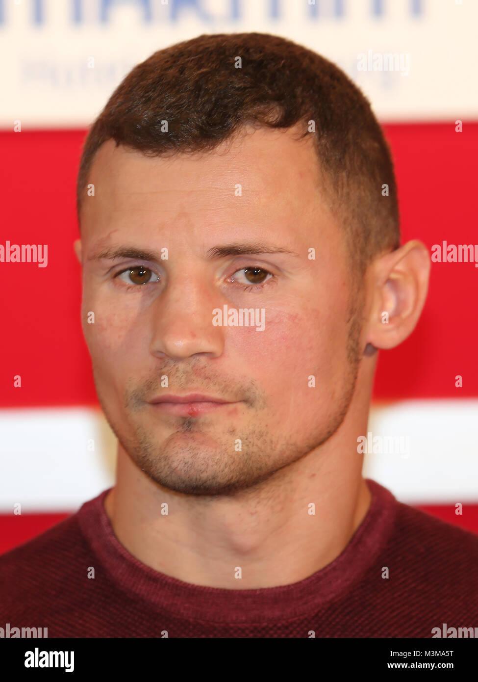 Halb-Schwergewichtsboxer  Robert Stieglitz (SES Boxing während der Pressekonferenz zum Europameisterschaftskampf - Stock Image
