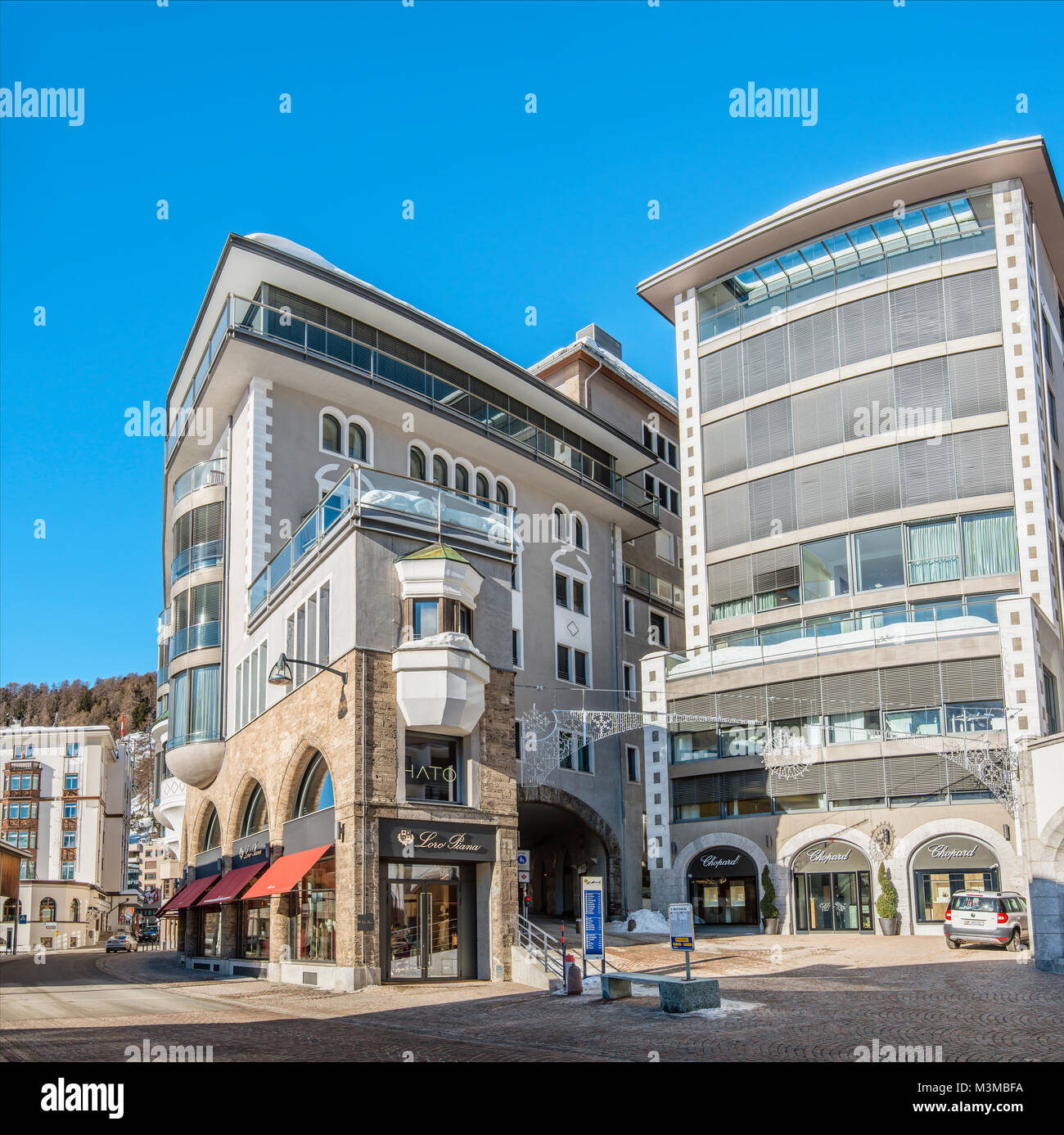 Architecture at the town center of St.Moritz, Grisons, Switzerland | Architektur im Stadtzentrum von St.Moritz Dorf, Stock Photo