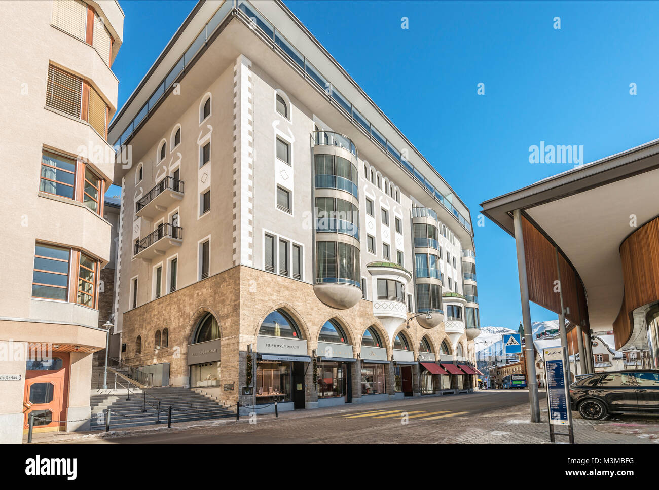 Architecture at the town center of St.Moritz, Grisons, Switzerland | Architektur im Stadtzentrum von St.Moritz Dorf, Stock Photo