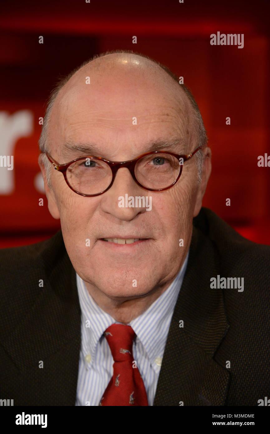 Christian Hacke der Politikwissenschaftler im PortrŠt als Gast in der wšchentlichen ARD Talkshow Hart aber Fair - Stock Image