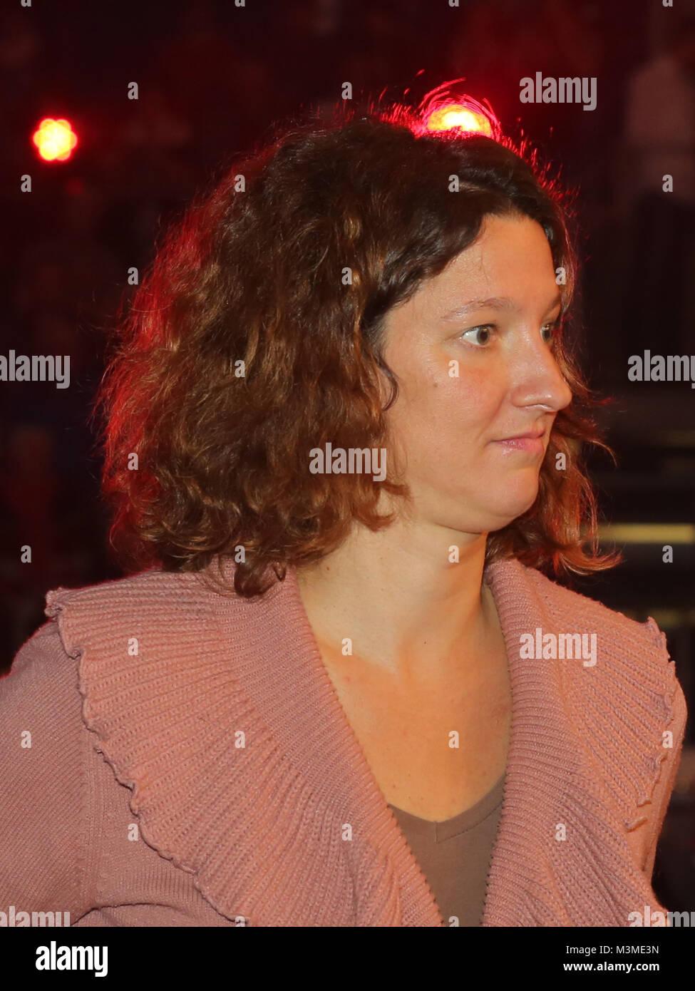 Schwimmerin Antje Buschulte (SC Magdeburg) als Ehrengast der SES-Box-Gala am 12.11.16 in der GETEC Arena Magdeburg - Stock Image