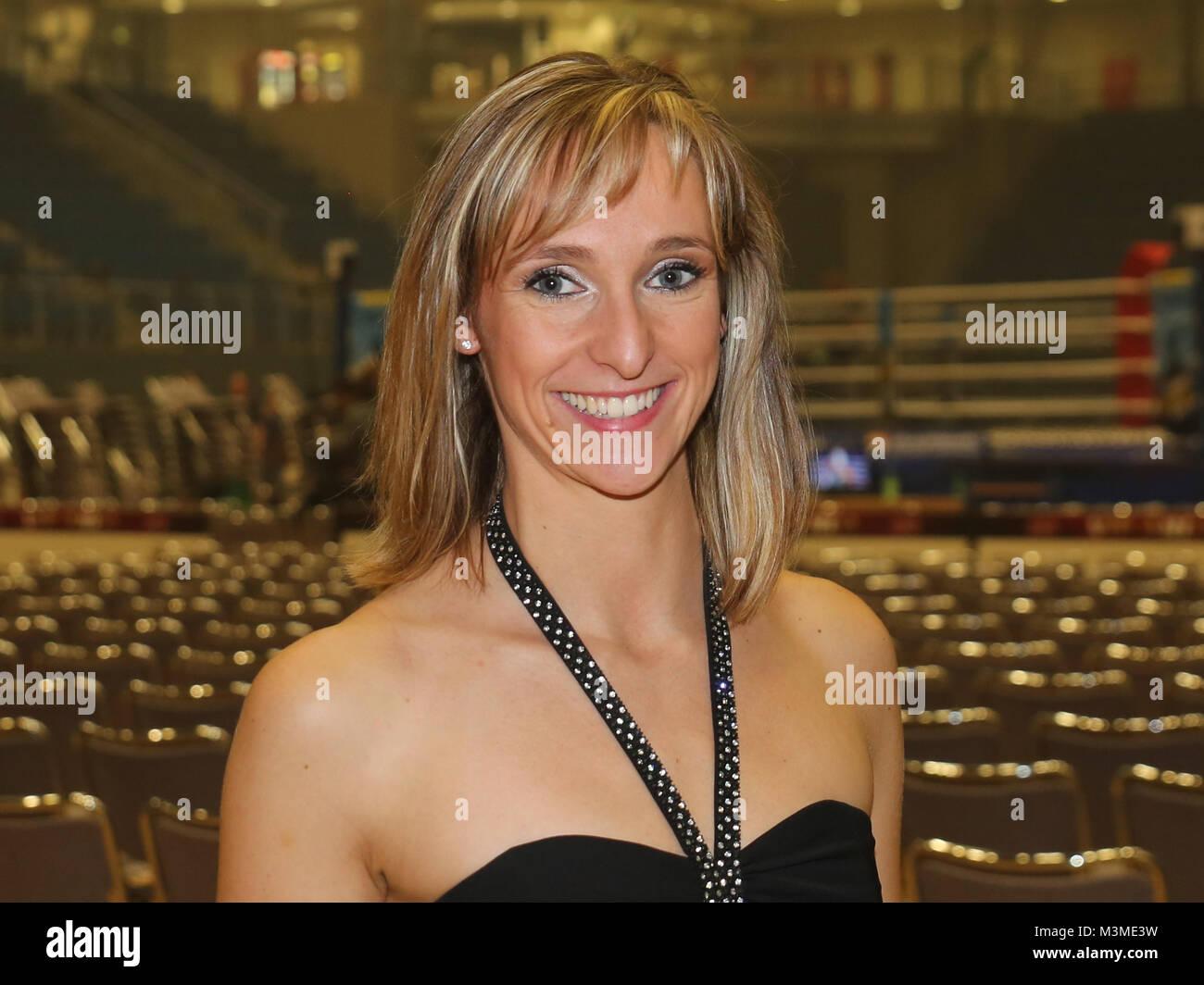 Sängerin und Schauspielerin Marie Mattheus bei der SES-Box-Gala am 12.11.2016 in der GETEC Arena Magdeburg - Stock Image
