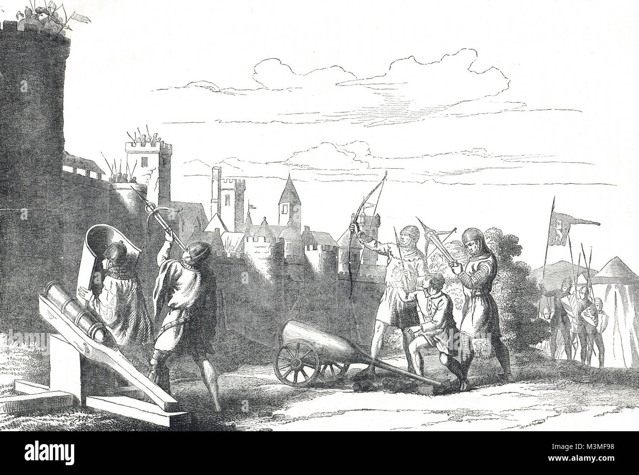 Siege of a town in the 14th century - Stock Image