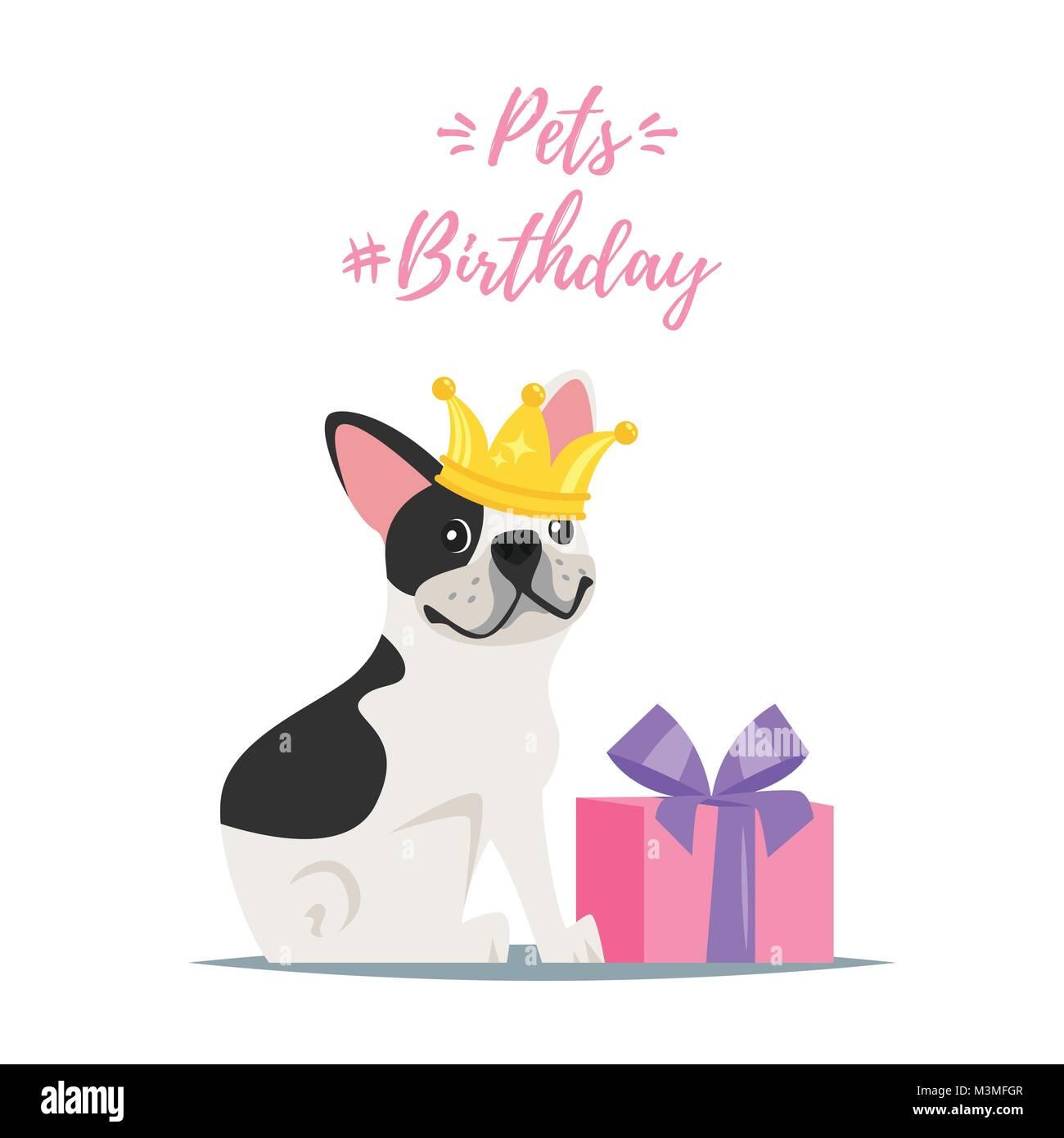 Vector cartoon style illustration of pets birthday greeting card vector cartoon style illustration of pets birthday greeting card with present and happy dog french bulldog i n golden crown kristyandbryce Gallery