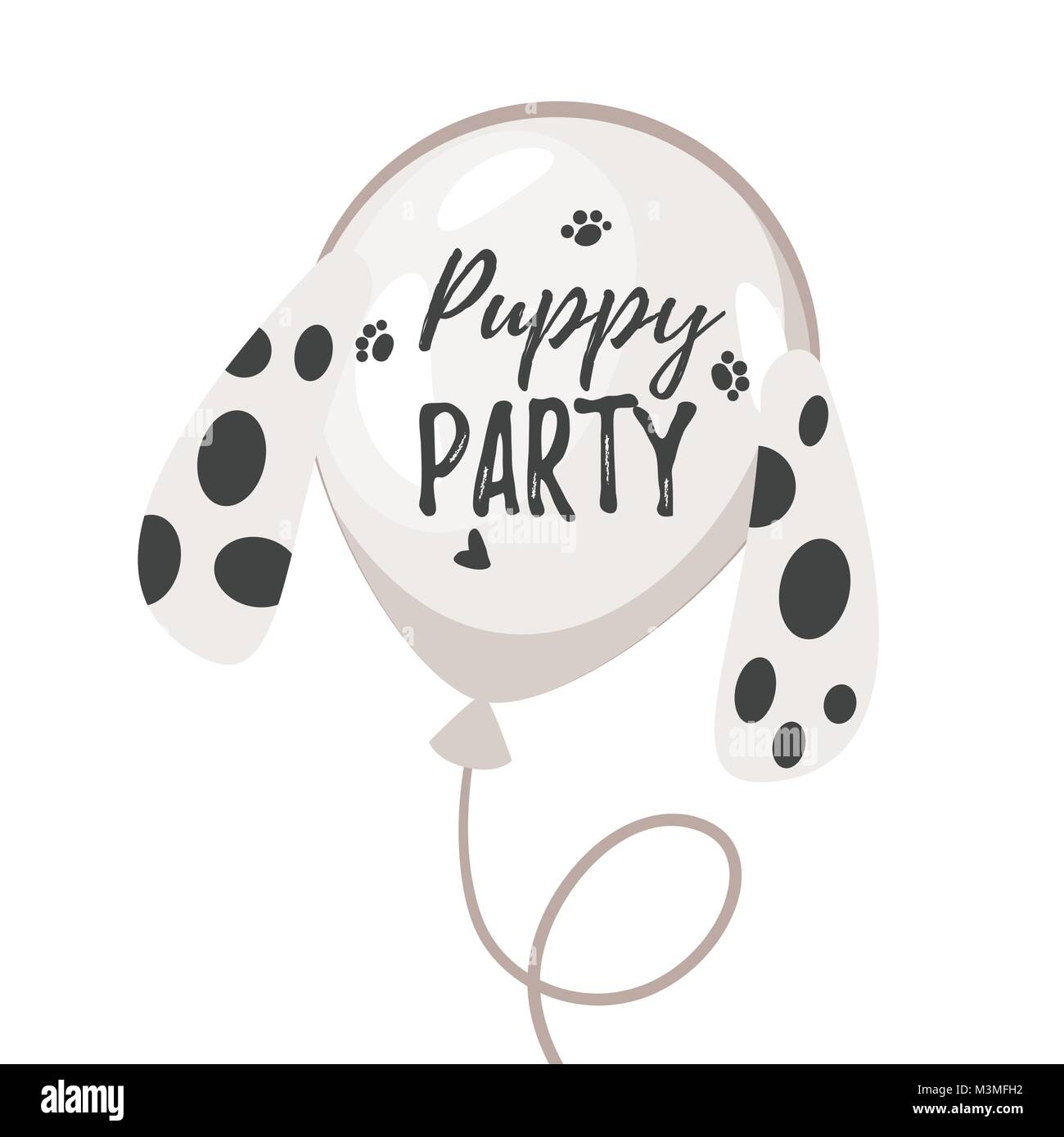 Vector  cartoon style illustration of Dog party greeting card with air balloon with dogs ears with black spots like - Stock Vector