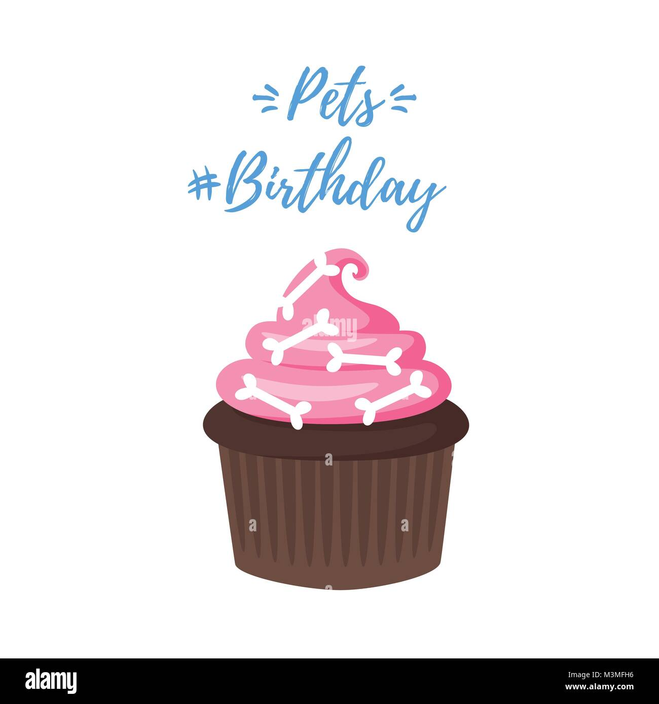 Vector Cartoon Style Illustration Of Dog Birthday Party Greeting