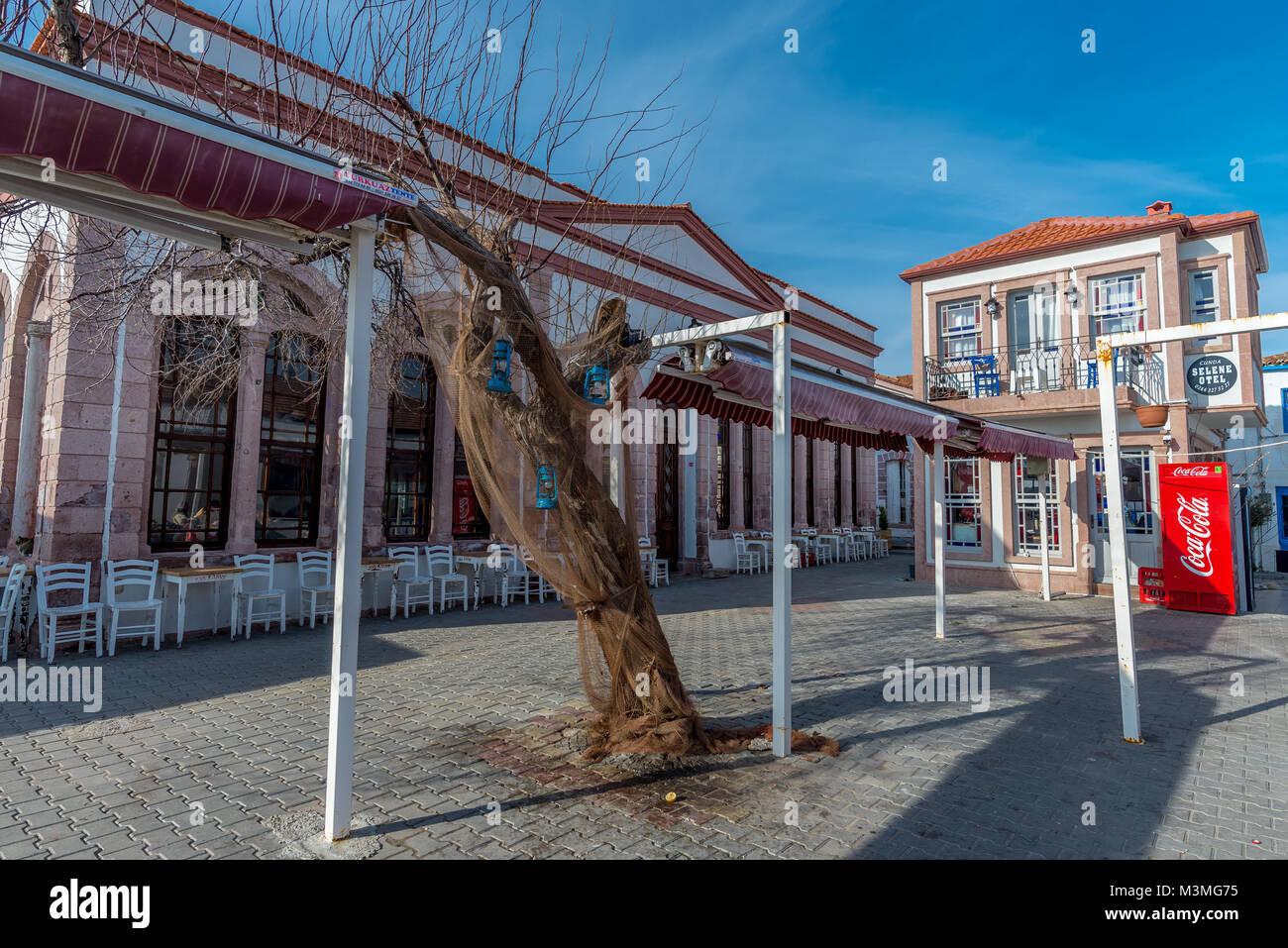 yvalık, Balıkesir Province, Turkey. Tas cafee - Stock Image