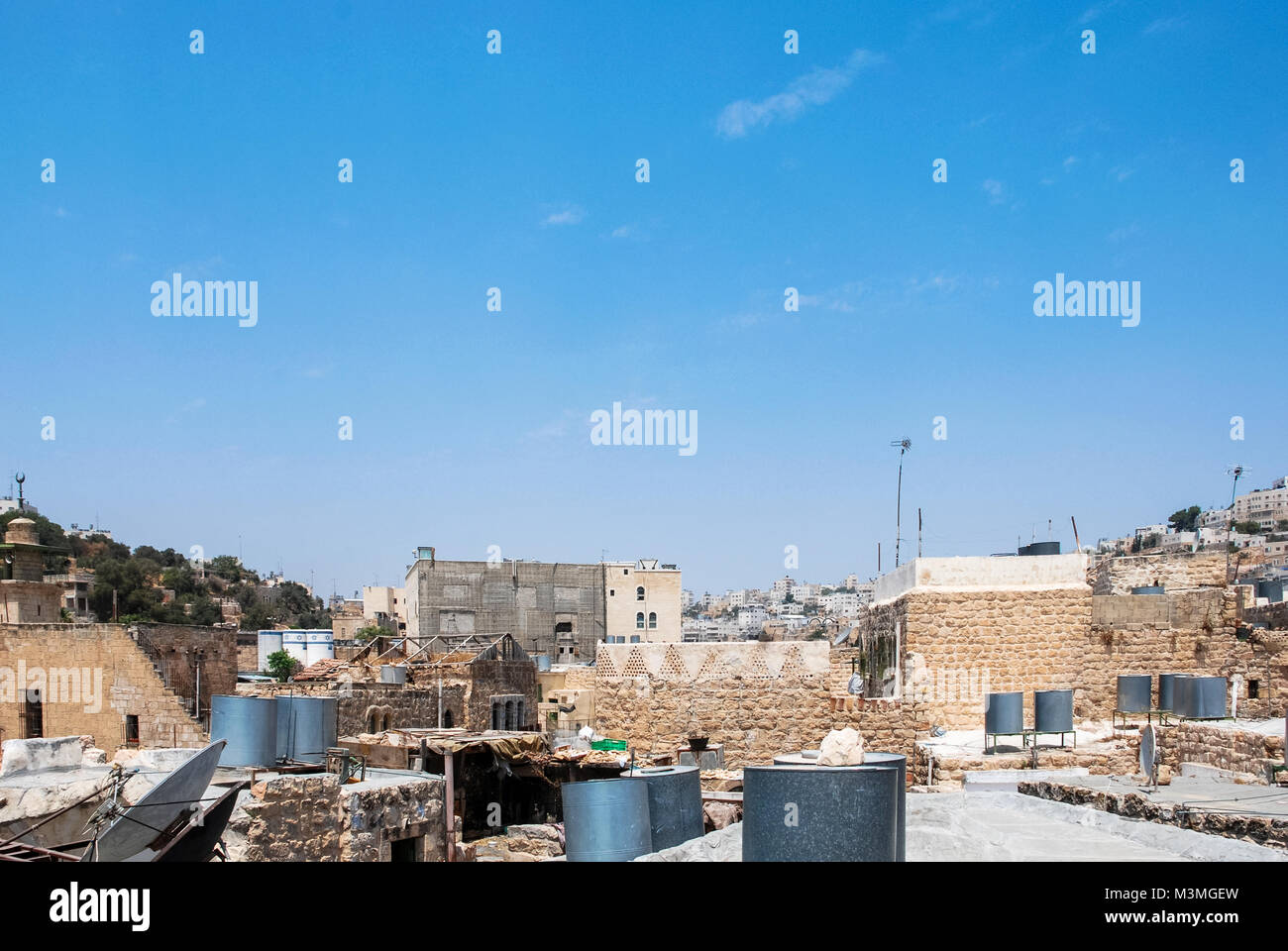 Wide angle picture of city view from the topo a house in Hebron, located in West Bank, Israel. - Stock Image