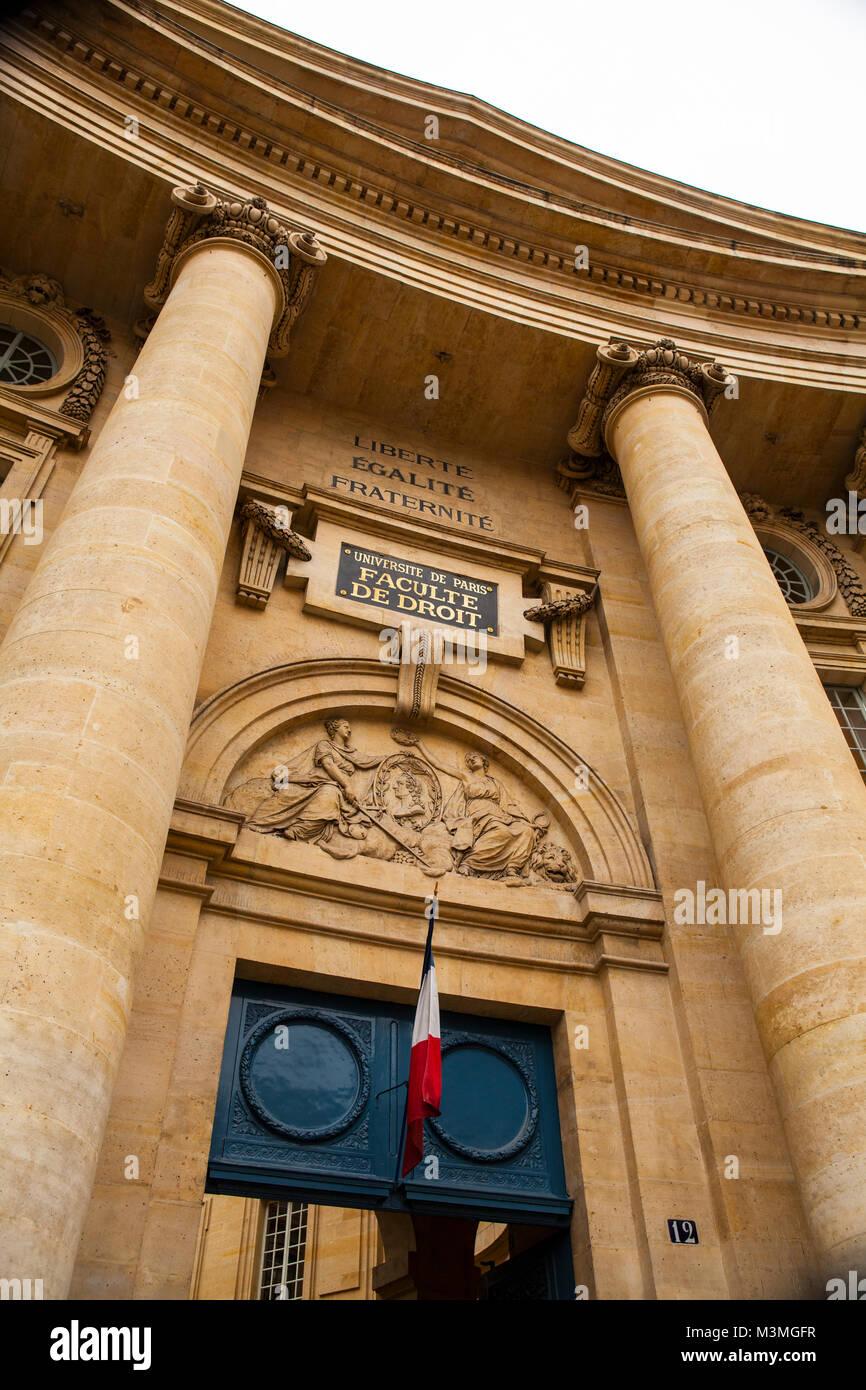 PARIS, FRANCE - JULY 10, 2014: The University of Paris, Sorbonne university, famous university in Paris, founded - Stock Image