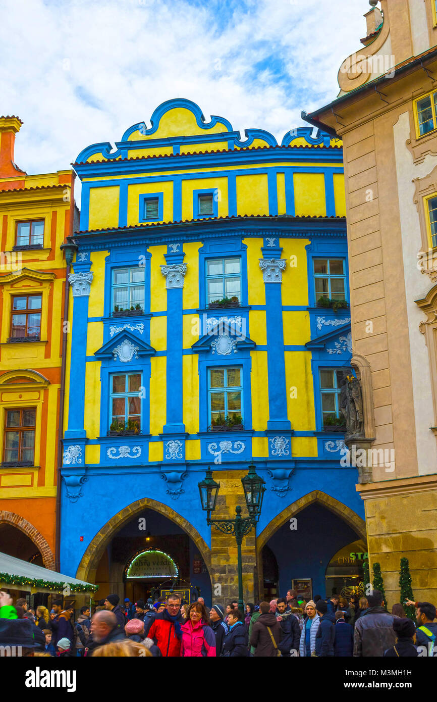 Prague, Czech Republic - December 31, 2017: Baroque architecture in Old Town Square. Stock Photo