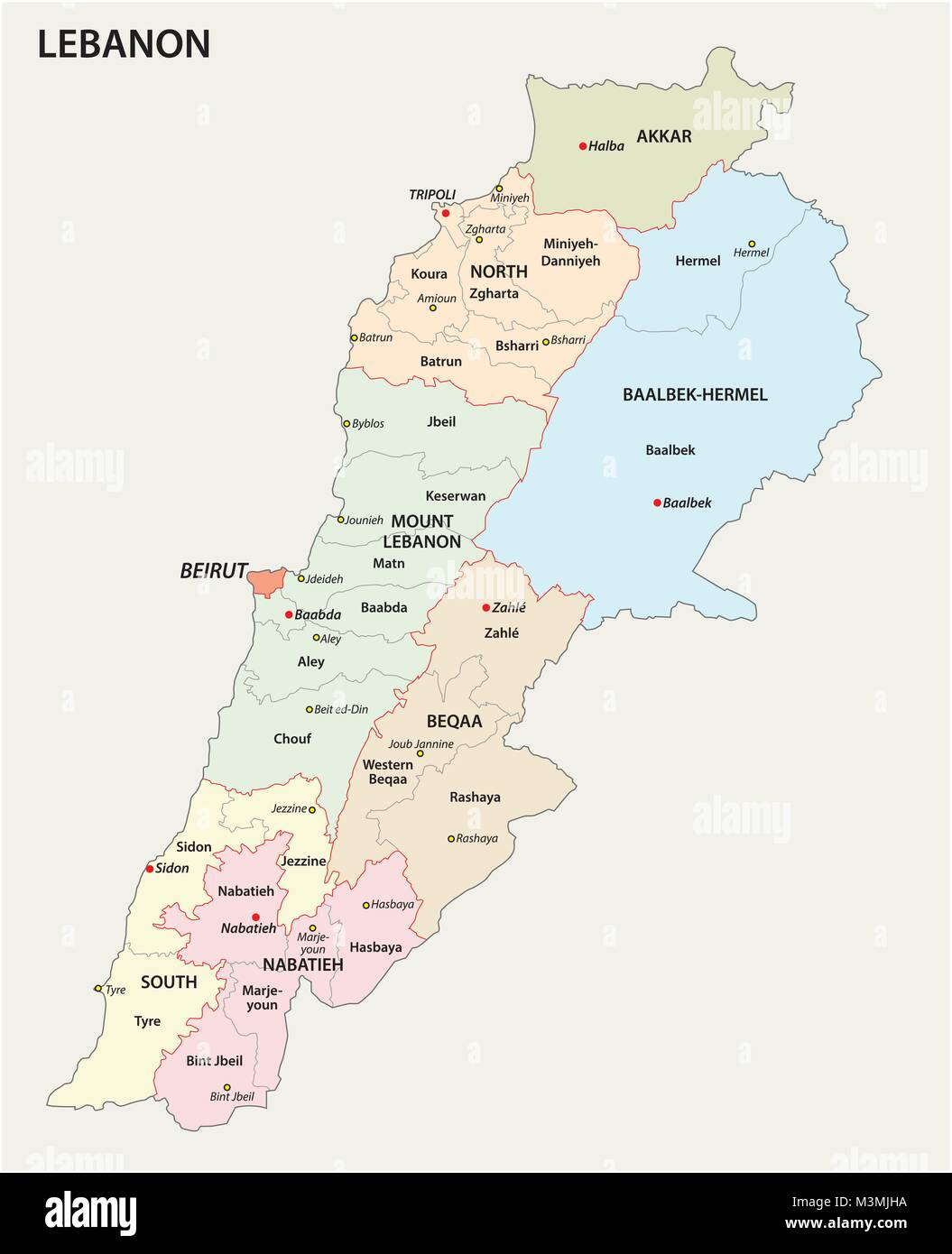 Detailed Lebanon administrative and political vector map Stock