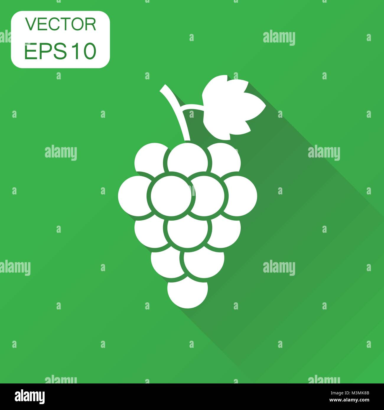 Grape fruit with leaf icon. Business concept bunch of wine grapevine pictogram. Vector illustration on green background - Stock Vector
