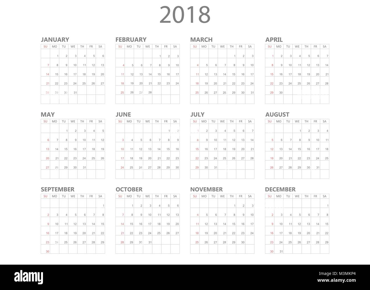 calendar 2018 year in simple style calendar planner design template week starts on sunday