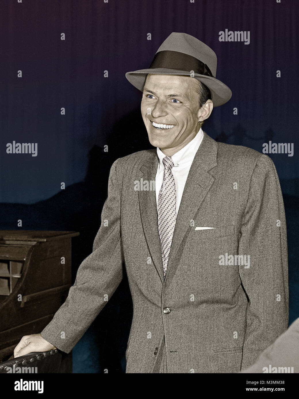 "Frank Sinatra on the set of ""Our Town"", 1955. Sinatra played the Stage Manager in this musical adaption of the Thornton - Stock Image"