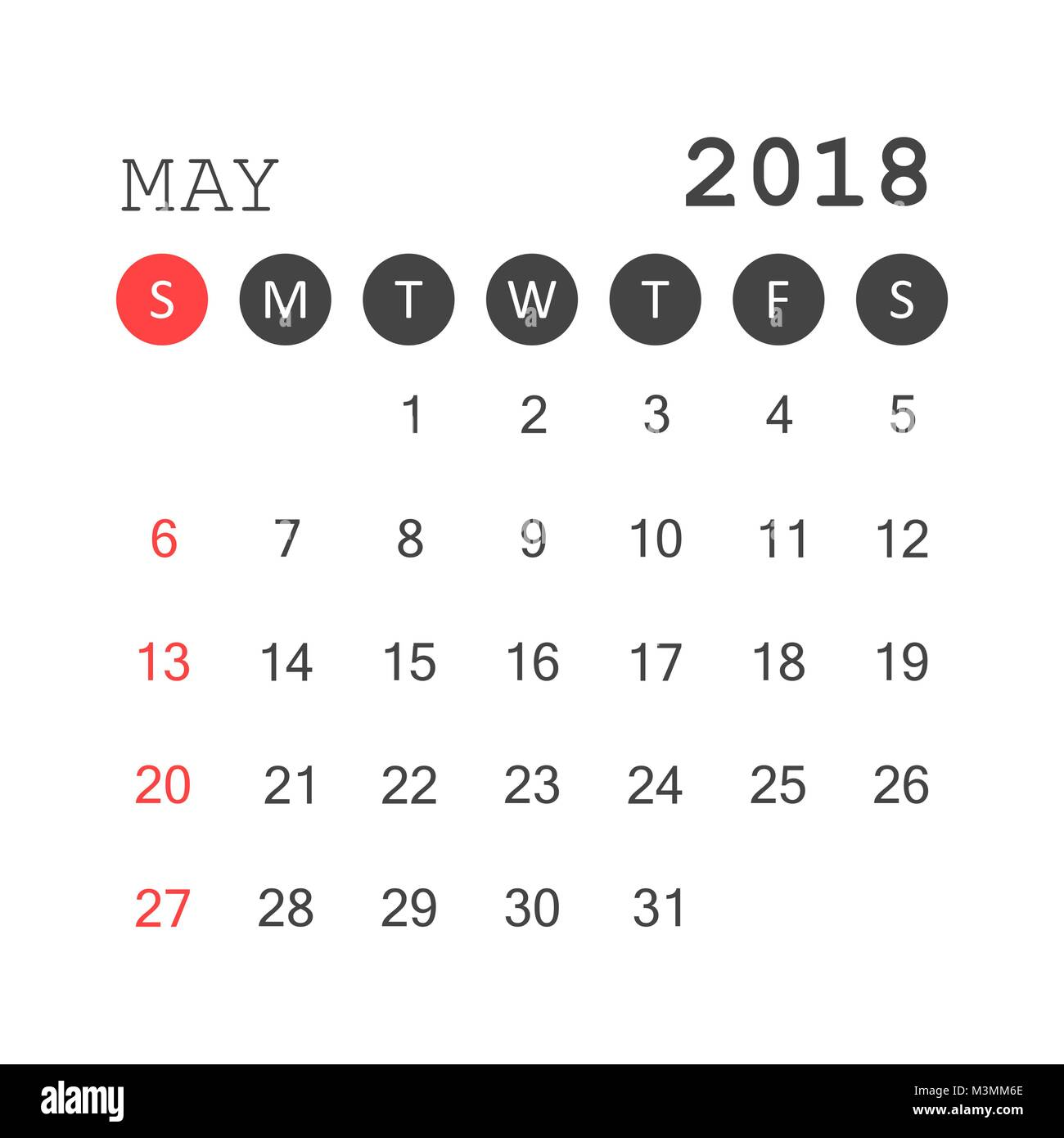 calendar 2018 week on sunday cut out stock images pictures page