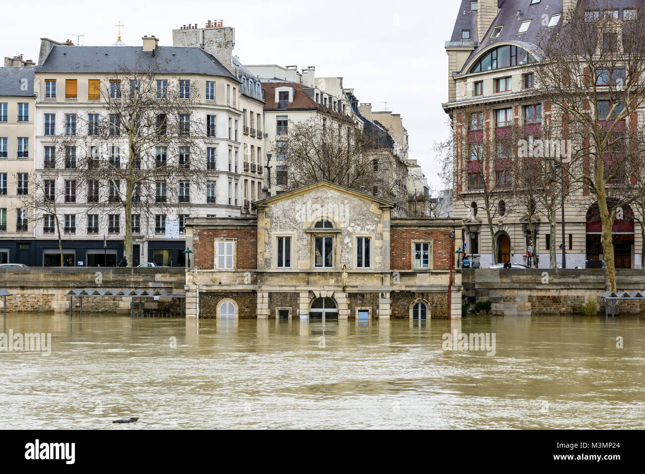 Paris, France - January 29, 2018: The house of the Celestins, former house of the inland water shipping service, Stock Photo