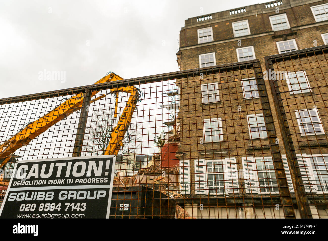 10th Feb, 2018. Demolition work at the Dukes Lodge, 80 Holland Park, London W11. The 1930s mansion block in Holland Stock Photo