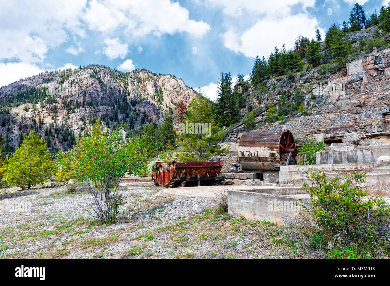 a deserted gold processing plant near Hedley B.C. - Stock Image