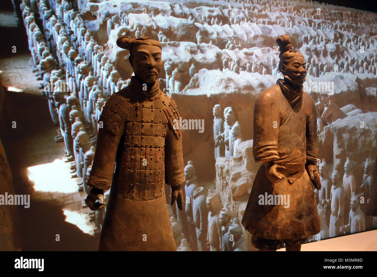 A Two of China's First Emperor and the Terracotta Warriors on Exhibition at the World Museum, Liverpool, England, - Stock Image
