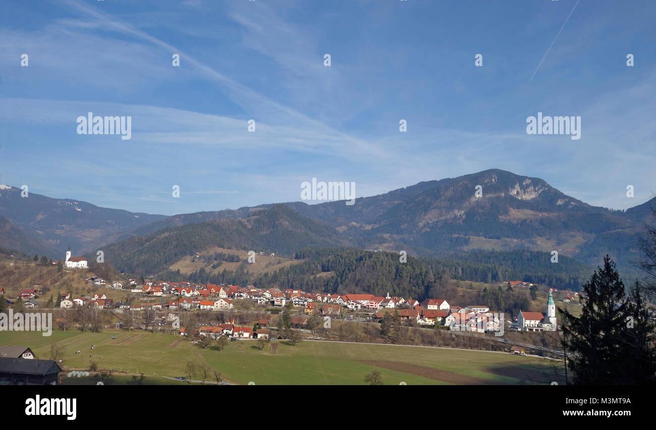 Ljubno ob Savinji is a smal tovn on the upper course of the Savinja River in  Savinja Statistical Region. Slovenia. - Stock Image