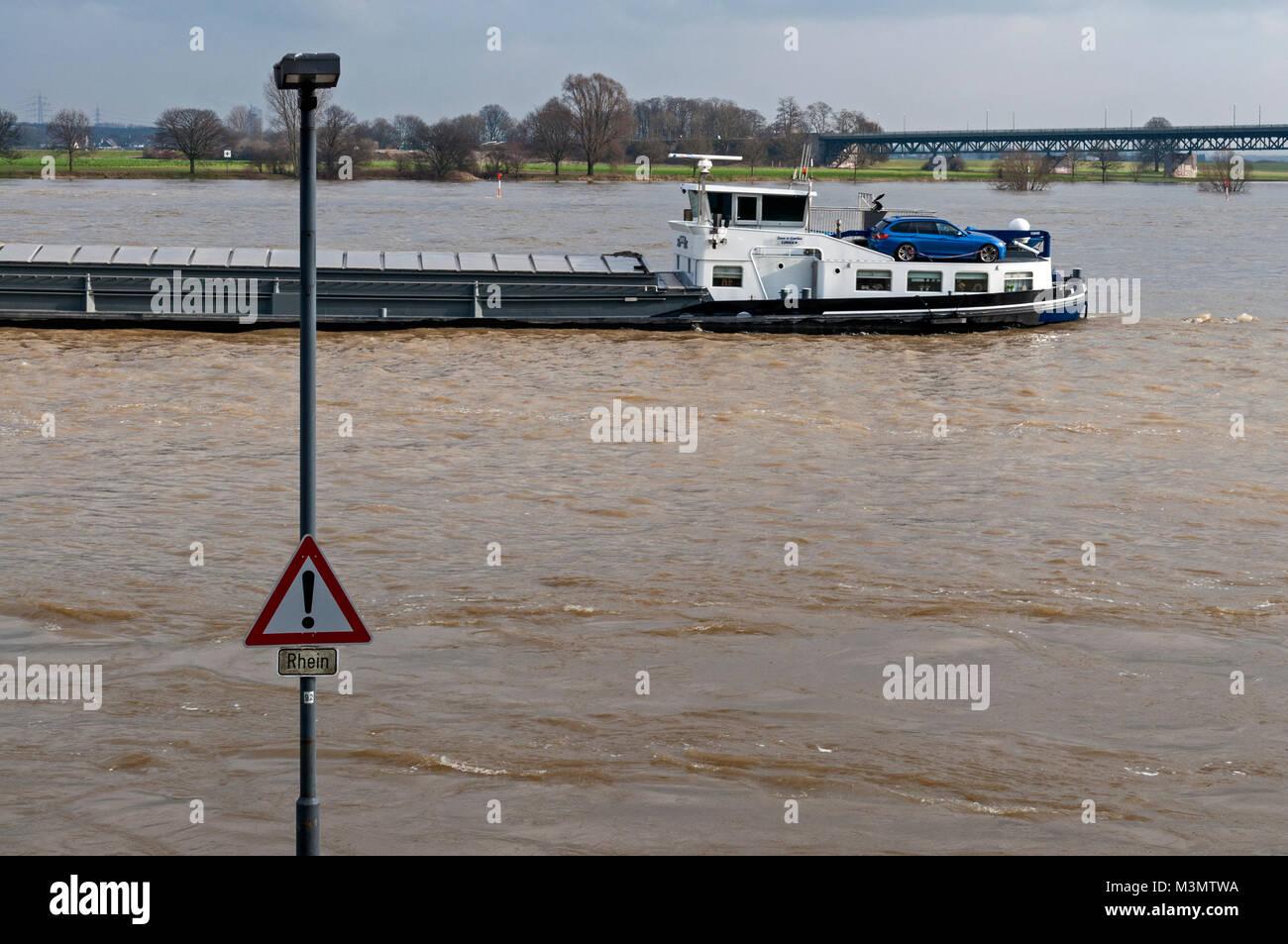 The Rhine at Krefeld-Uerdingen, NRW, Germany. - Stock Image