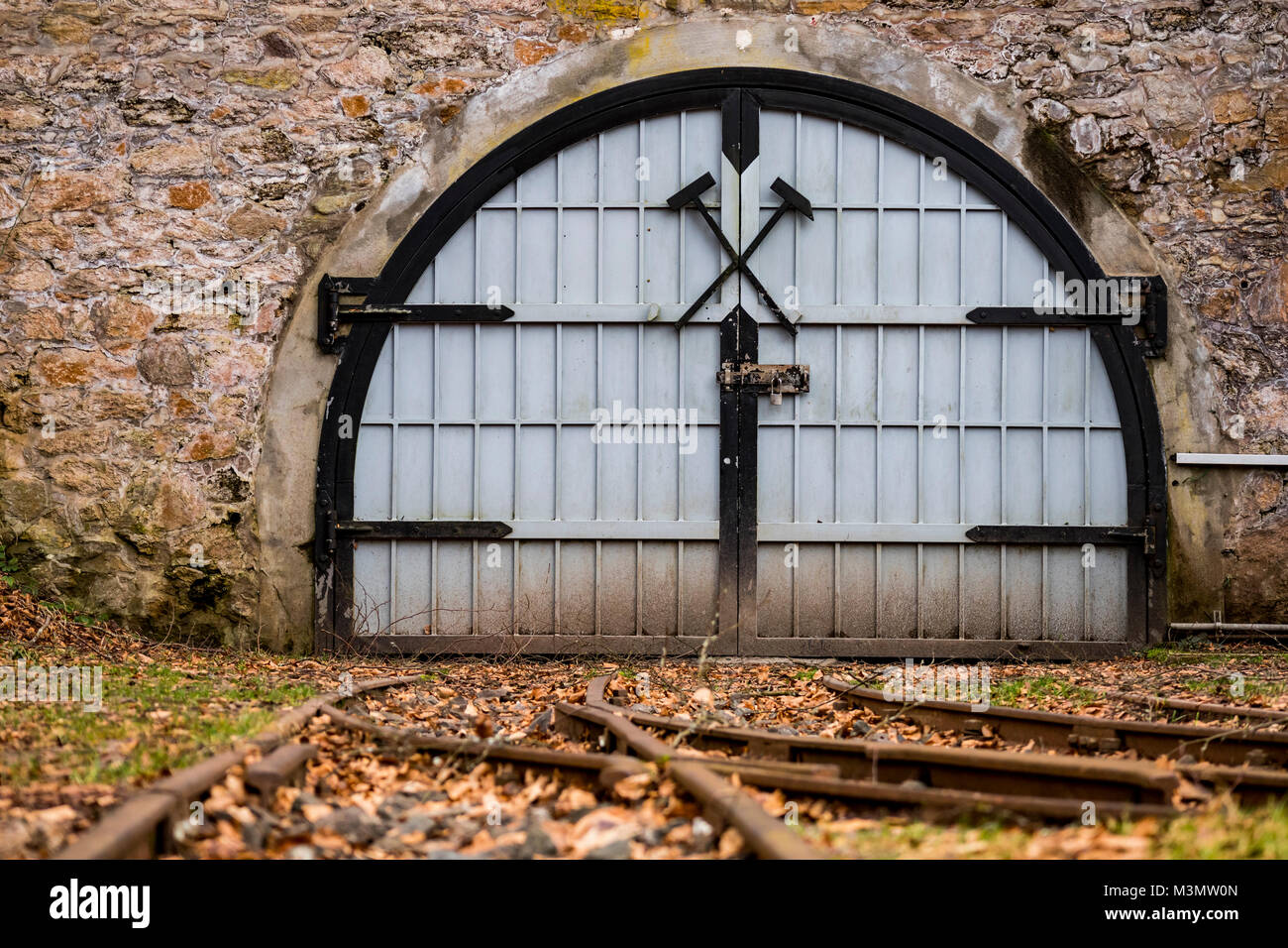 Mine entrance, gate, visitor's mine Grube Fortuna, Solms, Germany - Stock Image