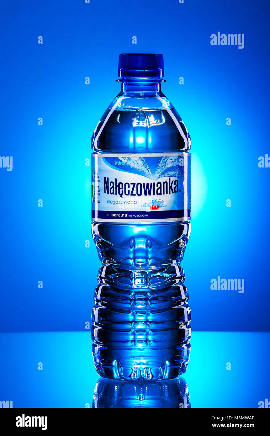 Naleczowianka mineral water on gradient background. - Stock Image