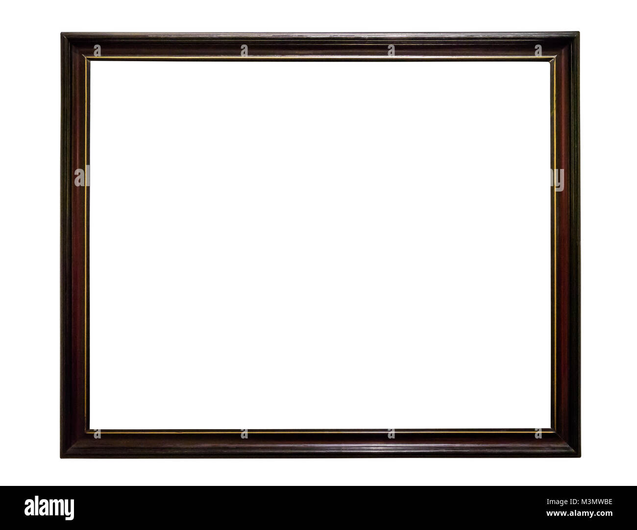Dark wooden picture frame isolated on white background with clipping path Stock Photo