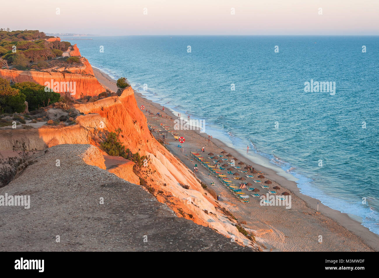 Beautiful Falesia Beach in Portugal seen from the cliff at sunset. Algarve, Portugal Stock Photo