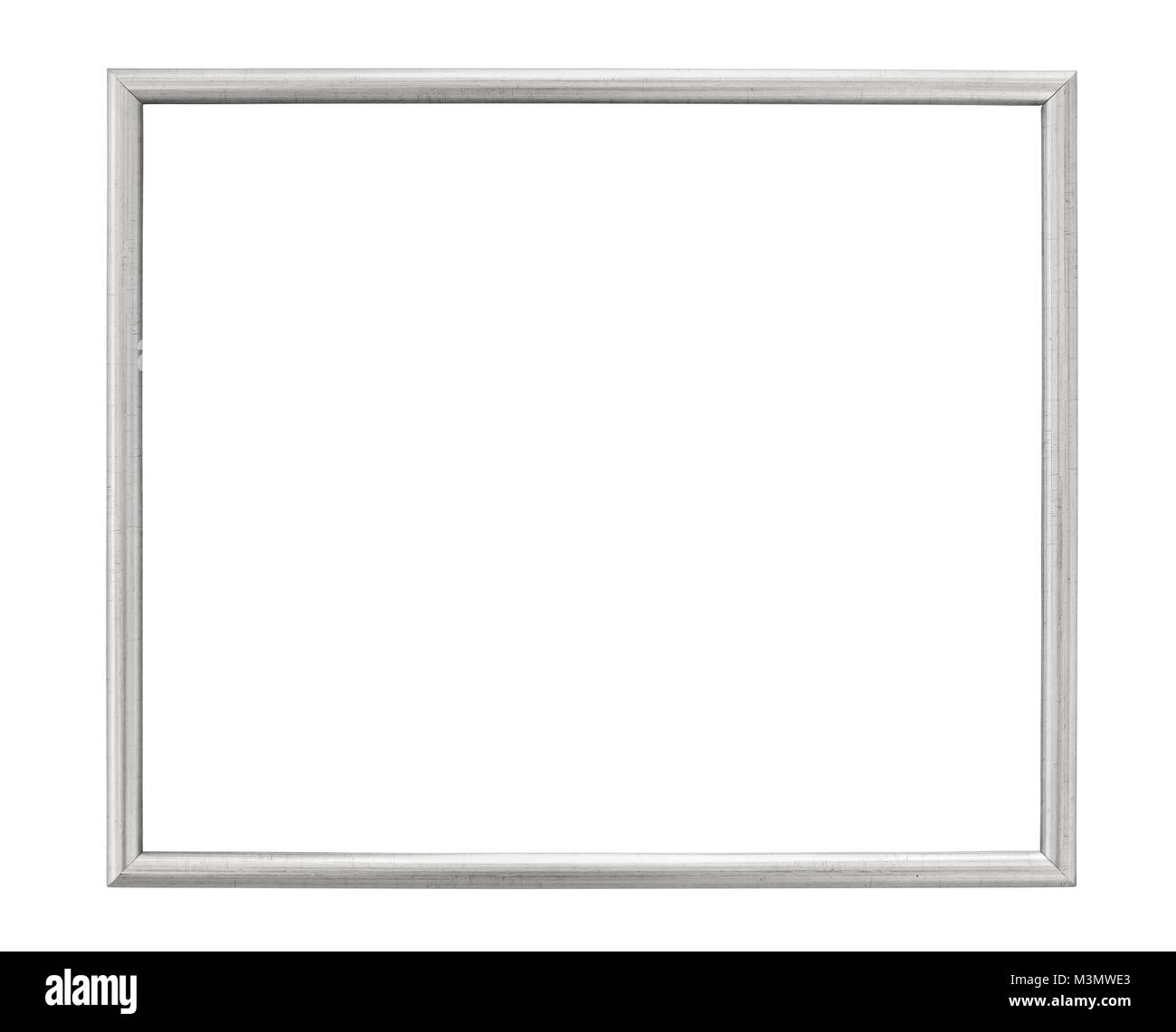 Silver colored picture frame isolated on white background with clipping path Stock Photo