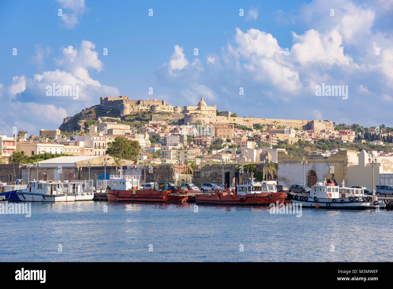 View of Milazzo town from the sea, Sicily, Italy Stock Photo