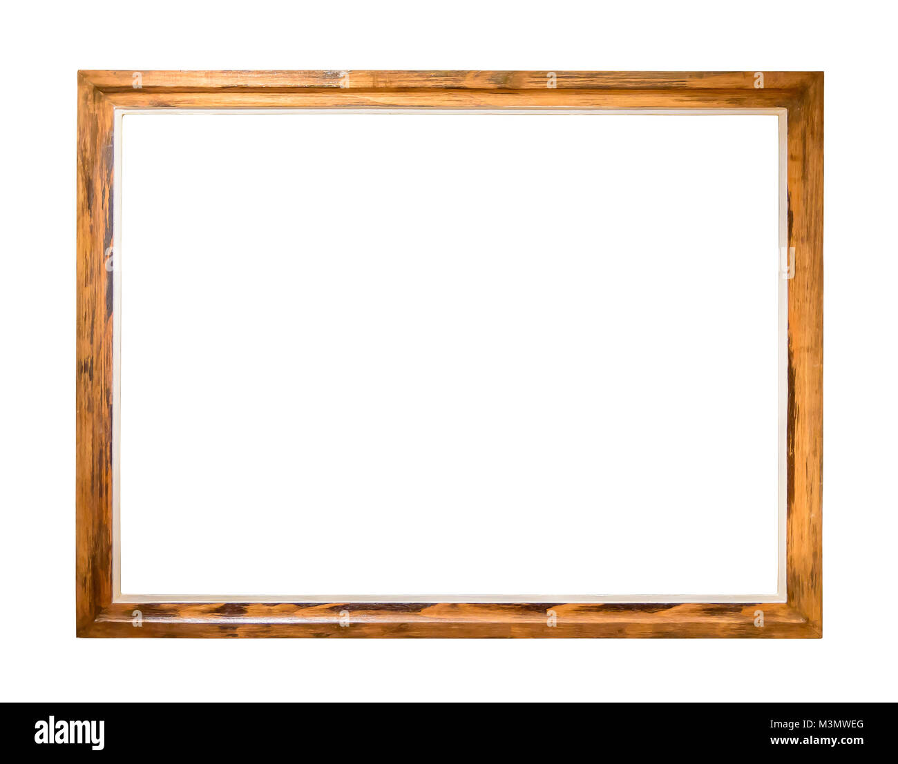 Wooden picture frame isolated on white background with clipping path Stock Photo